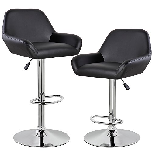 KERLAND Morden Adjustable Swivel Bar Stools Set of 2 (Black), PU Leather Home Kitchen Bar Chairs with Arms and Padded Back, Chrome Footrest