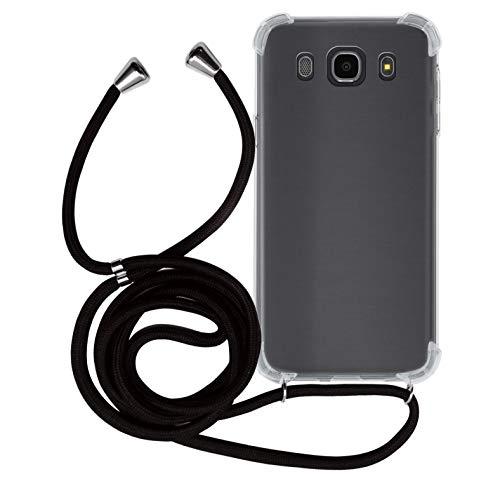 MyGadget Handykette für Samsung Galaxy J7 (2016) TPU Hülle mit Band - Handyhülle mit Handyband zum Umhängen Kordel Schnur Hülle Schutzhülle - Schwarz