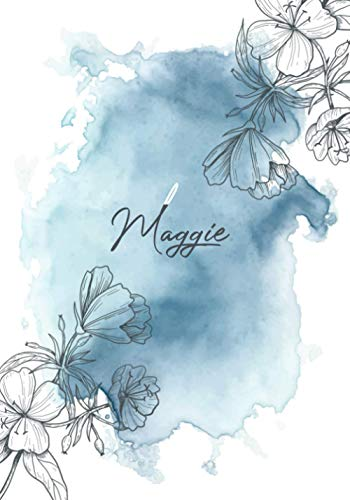 Maggie: Personalized Name Journal Notebook for Women and Girls, Blue Powder Pastel with Hand Drawn Flowers Background Cover, Diary Composition Notebook for Maggie