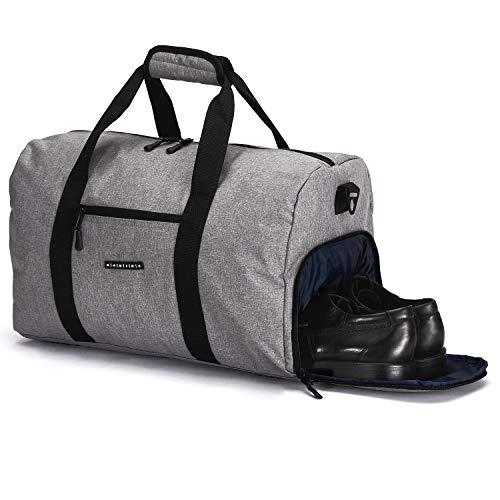 ronin\'s Stilvolle Sporttasche Reisetasche mit Schuhfach und Trinkflaschen-Halter  Update Version 2019  Grau