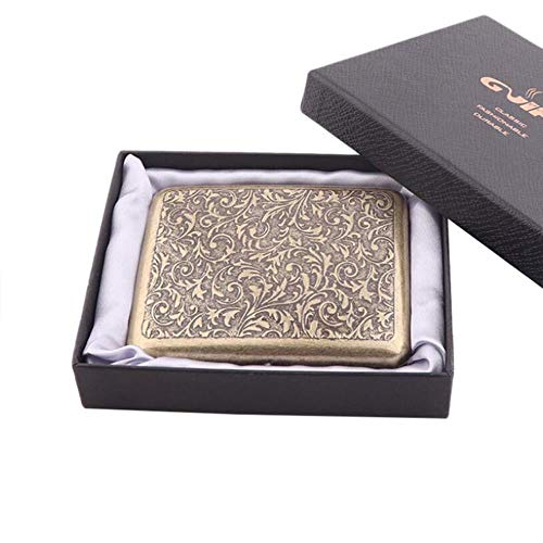 Tineo Vintage Metal Brass Cigarette Case with Gift Box Container 20 pcs Regular Size Cigarettes Tobacco Holder Pocket Box Storage,Case 6