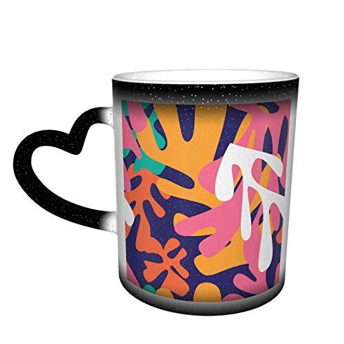 Taza que cambia de color inspirada en Matisse Gran diseño de taza de café Taza de cerámica sensible al calor, 11 oz