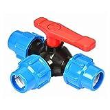 Tre Vie di Collegamento Rapido della Valvola del Tubo, Plastica T-Tipo di Valvola, Valvole A Sfera Diametro Interno 20/25/32/40/50/63 Millimetri (Color : Blue, Size : 20mm)
