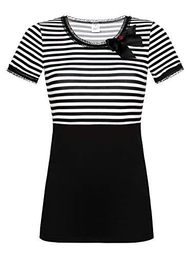 Pussy Deluxe  Stripey Black/White on Black Shirt, S, Schwarz/Weiß