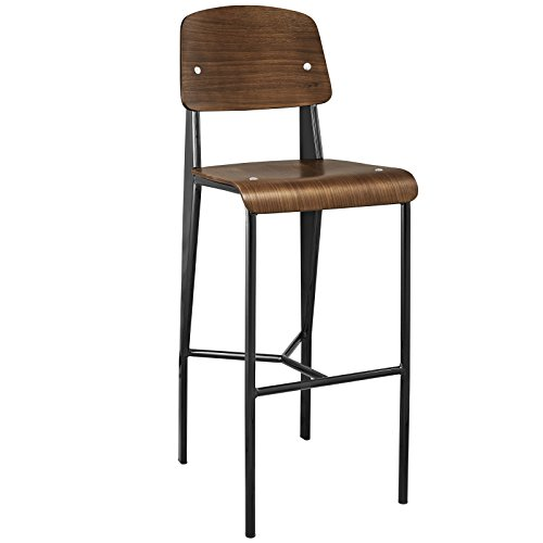 Modway Cabin Modern Farmhouse Wood and Metal Counter Bar Stool in Walnut