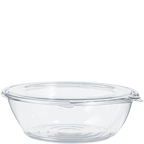 Dart CTR48BF 48 oz. Pet Hinged Bowl, Flat Lid, PET, Clear (Pack of 100)