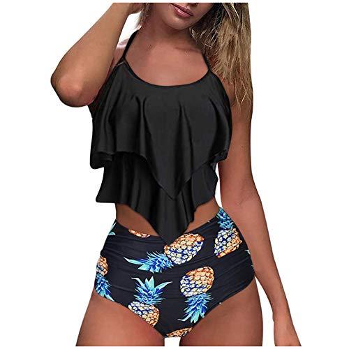 SmallYin Women's Tankini Swimsuits High Waisted Bikini Ruffled Top Tummy Control Two Piece Bathing Suits Beach Swimwear