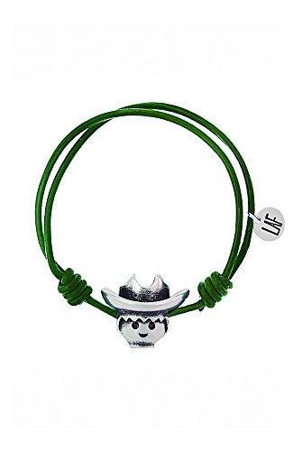 Pulsera Playmobil Valor cordón de cuero verde cabeza cowboy. Talla S (Producto Oficial).