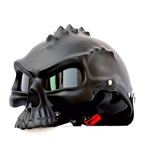 ZHXH Schädel Motorradhelm Retro Halbes Gesicht Roller Helm,1,M