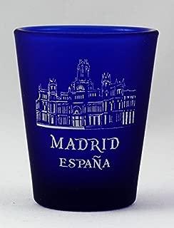 Madrid Spain Cobalt Blue Frosted Shot Glass