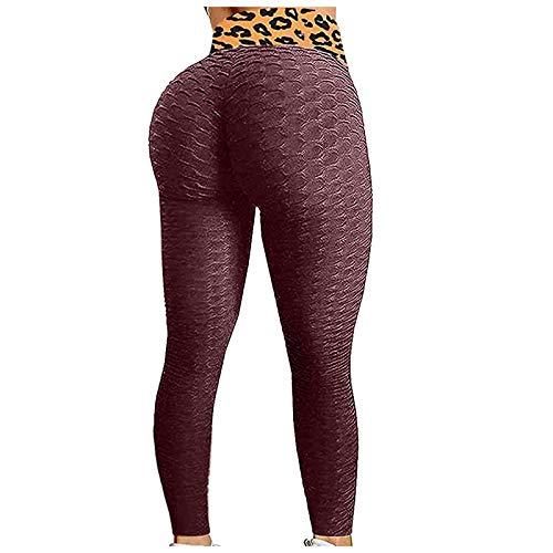 Leggings de Nido de Abeja para Mujeres Pantalones de Yoga de Cintura Alta con Pliegues para controlar la Barriga en el Gimnasio, Azul Marino y Blanco, XS