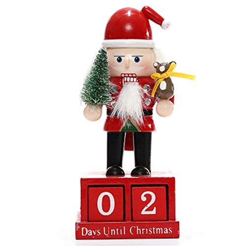 Christmas Wooden Advent Calendar Christmas Nutcracker Countdown Block Calendar Advent Calendar Stand for Festive Home Table Ornament,A: Santa Claus