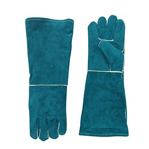 OIP ASJL Welders Gloves Long, Welding Gloves Heat Resistant, Leather Welding Gauntlets, 46cm/18in, Green, Mitts for Welders/BBQ/Fireplace/Camping/Cooking/Gardening