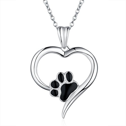 HUABOLA CALYN S925 Sterling Silver Heart Shape with a Paw Print Pendant Necklace