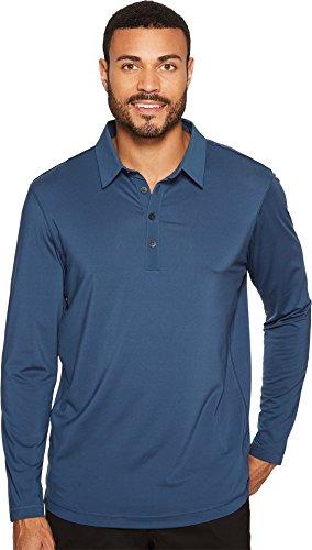 adidas Golf Men's Golf Climacool UPF Long Sleeve Polo Shirt, Mineral Blue, Medium