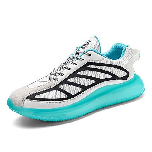 LIXIYU Zapatillas de Deporte para Hombre, Zapatillas Deportivas para Mujer, Zapatillas con Cordones para Correr, Zapatillas Bajas Informales para Mujer, Malla,White-43(UK8.5)