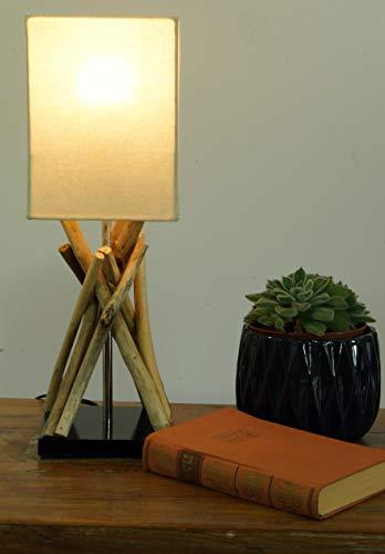 *Guru-Shop Tischleuchte/Tischlampe Pamplona,Treibholz, Baumwolle, in Bali Handgemacht aus Naturmaterial – Modell Pamplona, 42x15x15 cm, Dekolampe Stimmungsleuchte*