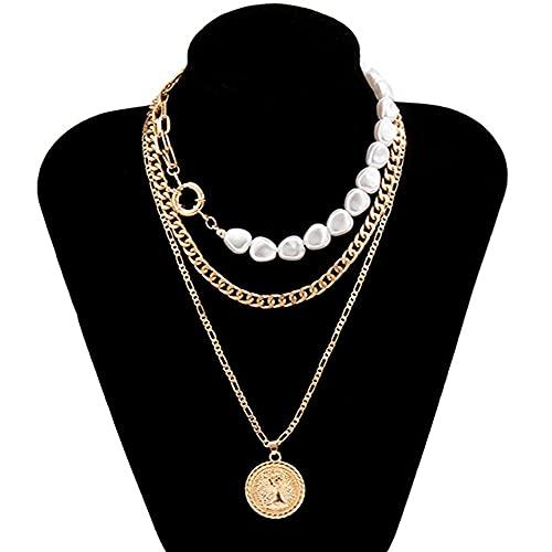 Collar Colgante del Retrato de la Moneda de Perla para Las Mujeres Vintage Multi Capa Link Cadena Collar Punk Aesthetic Jewelry