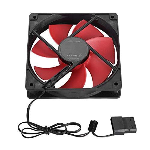 12 V, 120 mm, Caja Grande para computadora de 4 Pines y pequeña 3 Pines, Ventilador de refrigeración de Interfaz, Ventiladores de refrigeración USB Multicolores para PC para Juegos(Rojo)