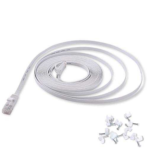 Cat 6 Ethernet Cable 25 ft White Flat - Solid Internet Network Lan patch cord – Cat6 High Speed Computer wire With clips & Rj45 Connectors for Router, modem, PS, Xbox– faster...