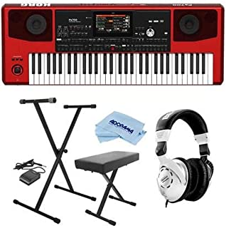 $1300 » Korg Pa700 61-Key Pro Arranger with Touchscreen and Speakers, Red - Bundle With On-Stage KPK6520 Keyboard Stand/Bench Pack with Sustain Pedal, Behringer HPS3000 HP Studio Headphones, Microfiber Cloth