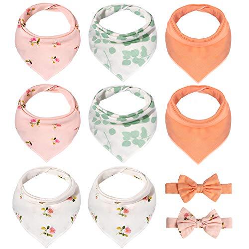 Momcozy Baby Lätzchen Dreieckstuch mit Stirnband, Weiche & Absorbierende Musselin Halstuch Baby mit Verstellbares Druckknopf, Baby Dreieckstuch für Mädchen, 8er Pack und 2 Haarband