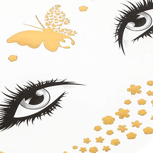 Konsait 8 Sheets Face Tattoo Sticker Metallic Temporary Transfer Tattoo Waterproof Face Jewels for Women Girls Make Up Dancer Costume Parties, Shimmer Glitter Gold Tattoos,Butterfly Star Freckle Scale 2