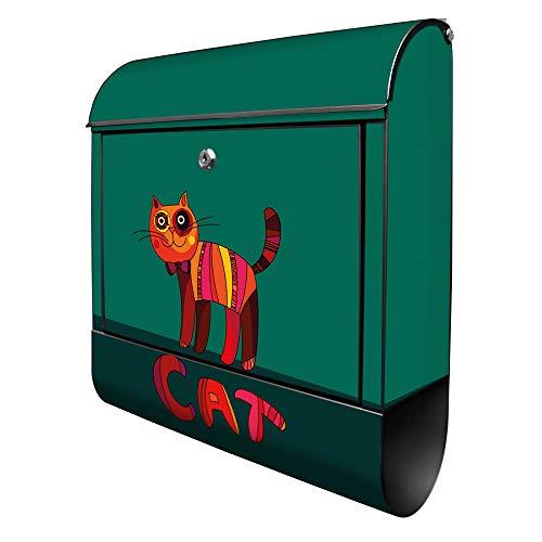 Banjado Design Briefkasten mit Motiv Orange Katze | Stahl pulverbeschichtet mit Zeitungsrolle | Größe 39x47x14cm, 2 Schlüssel, A4 Einwurf, inkl. Montagematerial