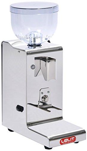 Lelit Fred PL044MMT Kaffeemühle mit automatischer Dosierung für 1 2 Tassen-Edelstahl-Gehäuse-Mikro-regulierung des Mahlens, Stainless Steel, silber