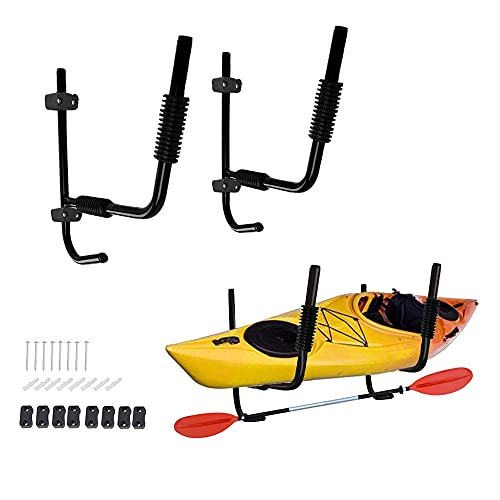GSOU 1 Pair Heavy Duty Steel Kayak Wall Racks Wall Mount Canoe Surfboard Folding Holder Storage w/Hook Wall Hanger for Indoor Outdoor Storage Shed, Any Wall
