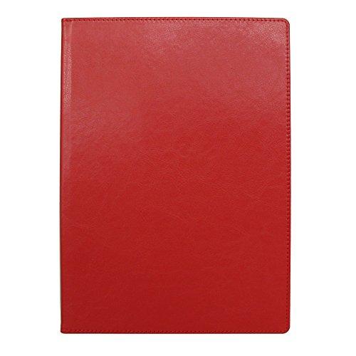 手帳カバー A5 レッド ノートカバー ブックカバー 無地 横開き 合皮 手帳式 PUレザー