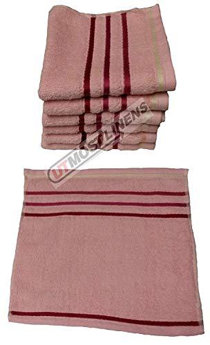 Comfy Decor Lot de 6 gants de toilette de luxe 100 % coton égyptien 30 x 30 cm rose/rayures