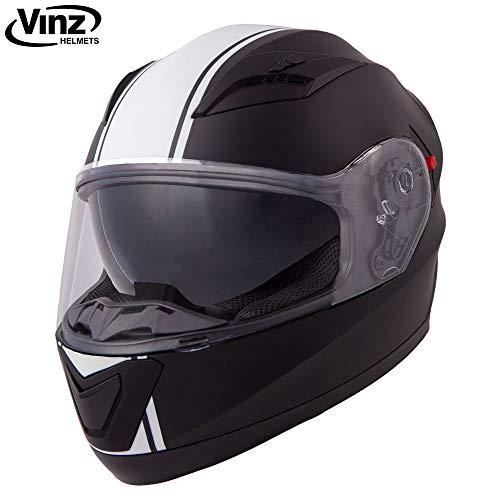 Vinz Integralhelm/Rollerhelm | Motorradhelm in Gr. S-XL | Integral Helm mit Sonnenblende (M (57-58 cm), Matt Schwarz/Weiß).