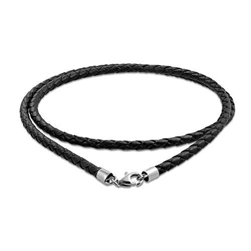 Bling Jewelry Cuero Negro Auténtico Tejido Trenzado Cable Colgante Collar Mujer Y Hombre Adolescente Plateado Broche Garra Langosta