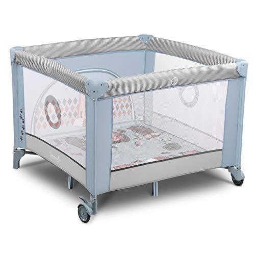 Lionelo Sofie Laufstall Laufstall Baby Baby Bett Reisebett Baby ab Geburt bis 15 kg Seiteneingang Lockguard System und Blockade der Räder Tragetasche zusammenklappbar (Hellblau)