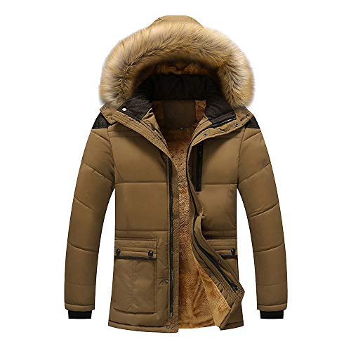MODOQO Men's Down Parka Coat with Fur Hood Warm Winter Zipper Hoodies Jacket (Dark Khaki,4XL)