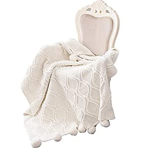 MH MYLUNE HOME 毛布 ブランケット 100%シェニール フリンジ付き ひざ掛け 重さ1.7kg 丸洗いできる ベッドスロー 130x160cm