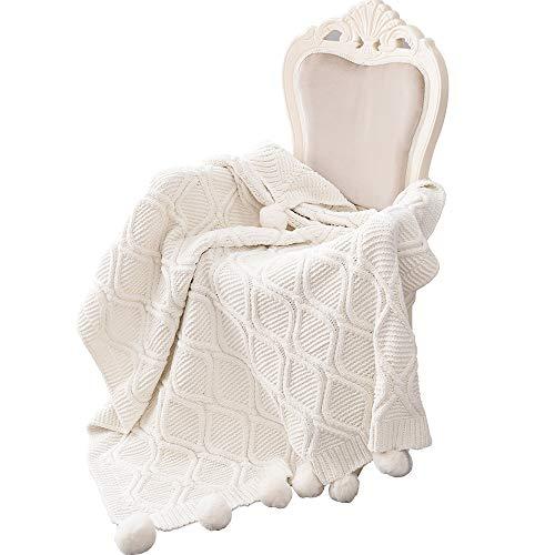 MYLUNE HOME Stilvolle Chenille Strickdecke für Fernsehen oder Nap auf dem Stuhl Sofa und Bett 130 * 160cm Weiß