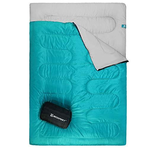 Bessport Saco de Dormir Doble para Acampar, 2 Personas Adultos Adolescentes Saco de Dormir Ligero para mochileros, Senderismo, Carpa, campista al Aire Libre