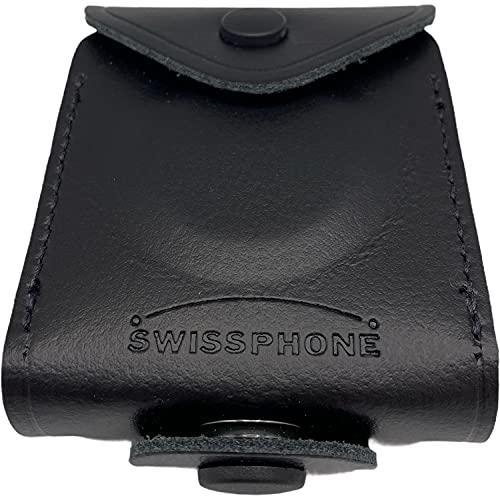 Melder-Tasche Etui | Echt-Leder robust | geschlossen Swissphone | Top Qualität | Knopf aufklappbar Klappfunktion | s.Quad Serie | Zubehör Funkmeldeempfänger X15 X35