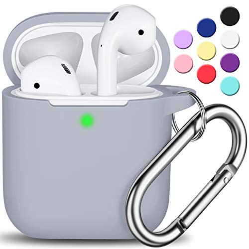 AirPods Case Cover with Keychain, Full Protective Silicone AirPods Accessories Skin Cover for Women Girl with Apple AirPods Wireless Charging Case,Front LED Visible-Pebble