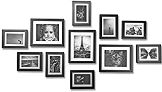 Ray & Chow Black Gallery Wall Picture Frames Set Kit- 11 Frames- Solid Wood- Glass Window-Made to Display 8x10 5x7 Pictures Without Mat or 5x7 4x6 Pictures with Mat - Hanging Hardware Included