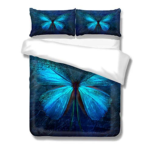pealrich Duvet Cover 3 Piece Set with Zipper Closure, Peacock Blue Butterfly Bedding Set with 2 Pillow Shams, Queen Bed Set for Kid/Teen/Adult