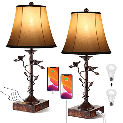 Set of Two Table Lamps for Living Room 3-Way Dimmable Bedside Lamp with USB Port and AC Outlet Small Touch Lamps Bedroom Lamps for Nightstand Lamp Desk Bed Lamps for Reading Office (Bulbs Included)