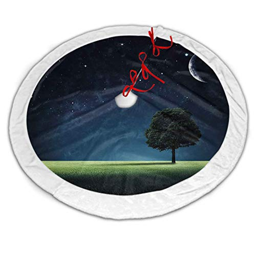 Night Christmas Tree Skirt Small Abstract Natural Composition with Lonely Tree in Park Crescent Moon in Sky for Xmas Party Decoration Dark Blue Green White 30 Inch