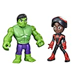 Marvel Spidey and His Amazing Friends Hero Reveal 2-Pack,-Action Figures,-Mask Flip Feature, Miles Morales: Spider-Man and Hulk, 3 and Up