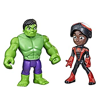 Marvel Spidey and His Amazing Friends Hero Reveal 2-Pack,-Action Figures,-Mask Flip Feature, Miles Morales: Spider-Man…