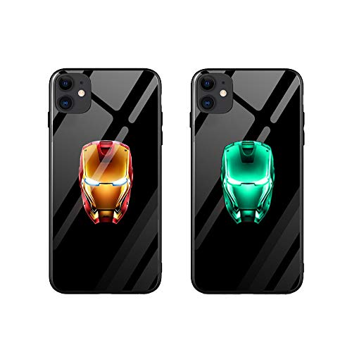 Marvel Luminous Hülle für Galaxy S10, S10 Plus, Galaxy S20, S20 Plus, Glowing Tempered Glass Back Cover Soft TPU Bumper Shockproof Hülle (Iron Man Face, Galaxy S20 Plus)