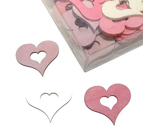Decpero Holzherzen Streusortiment / 72 Stück / 3 Farben/rosa weiß pink