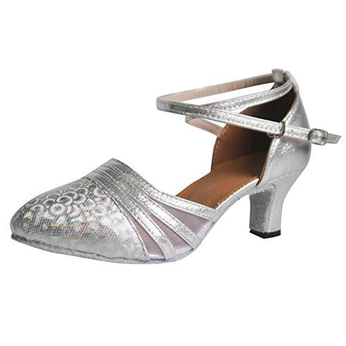 Damen Glitzer Tanzschuh Standard & Latein Salsa Tango Abendschuhe Dance Shoes Geschlossen Ballschuhe Party Schuhe High Heel Sandaletten Ballschuhe